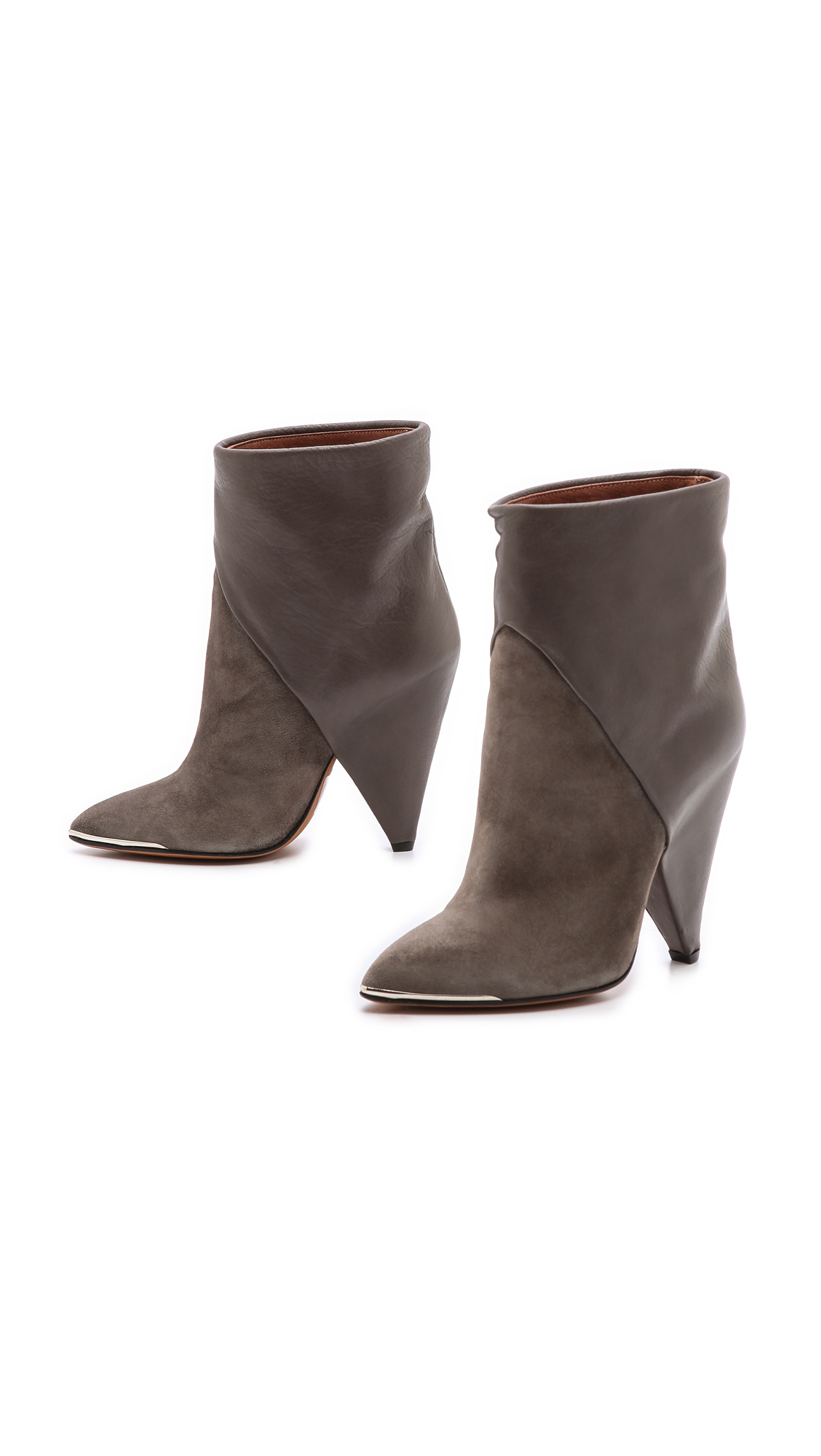 Iro Daithy Cone Heel Booties In Brown Taupe Lyst