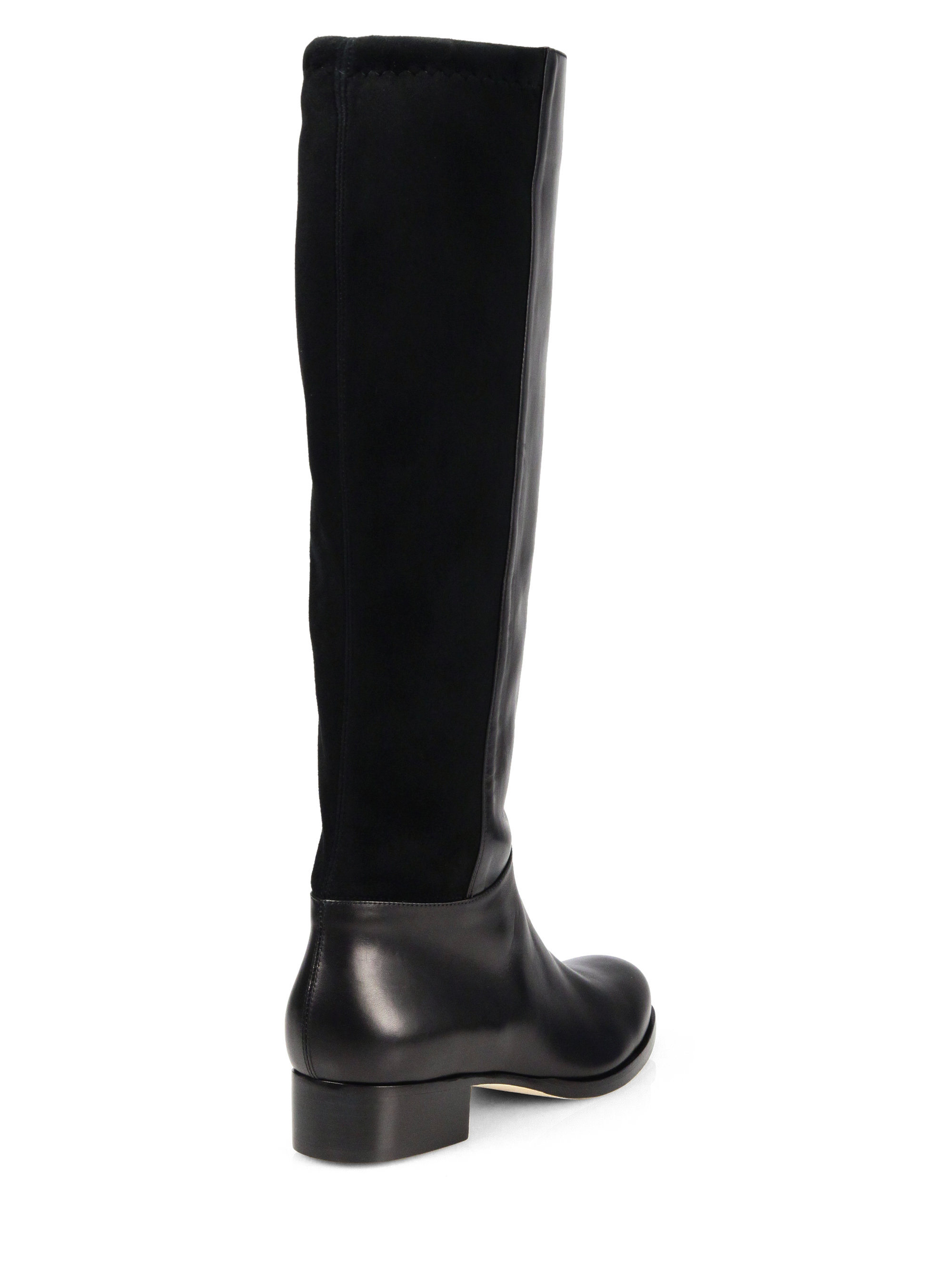 Jimmy choo 50/50 Stretch Leather & Suede Knee-High Boots in Black ...