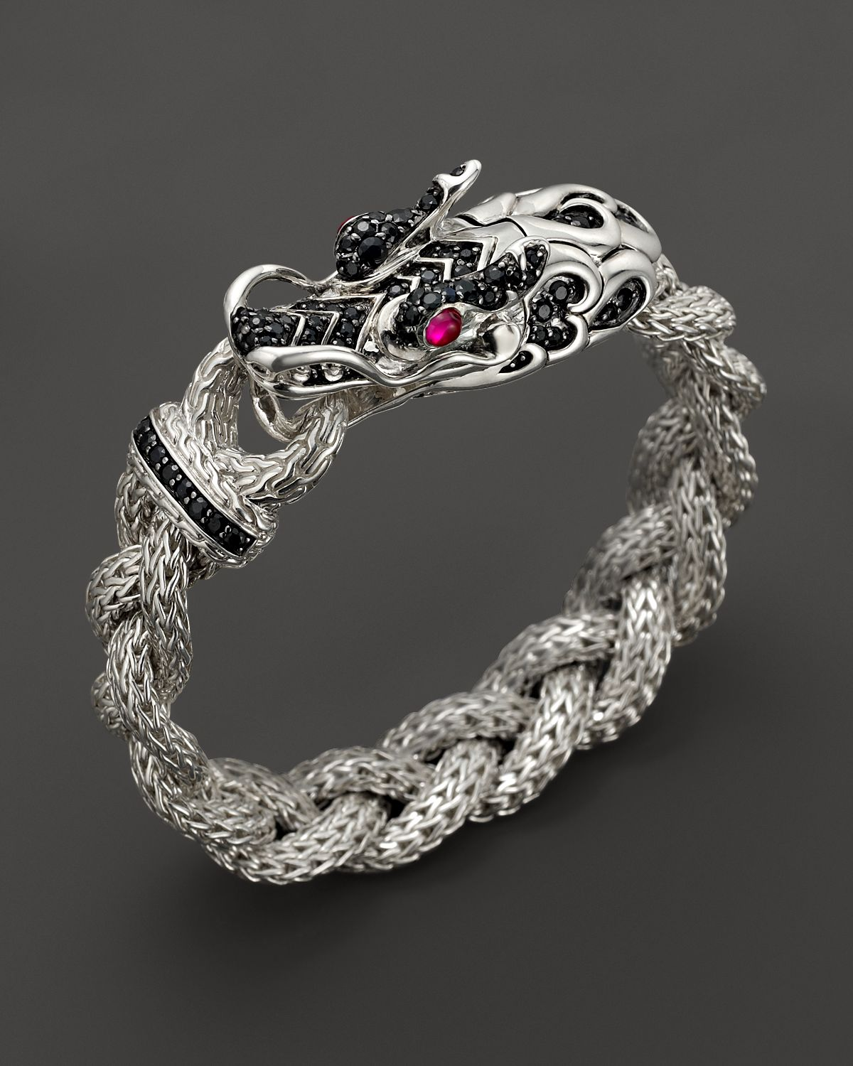 John Hardy Batu Naga Silver Dragon Head Bracelet On Medium