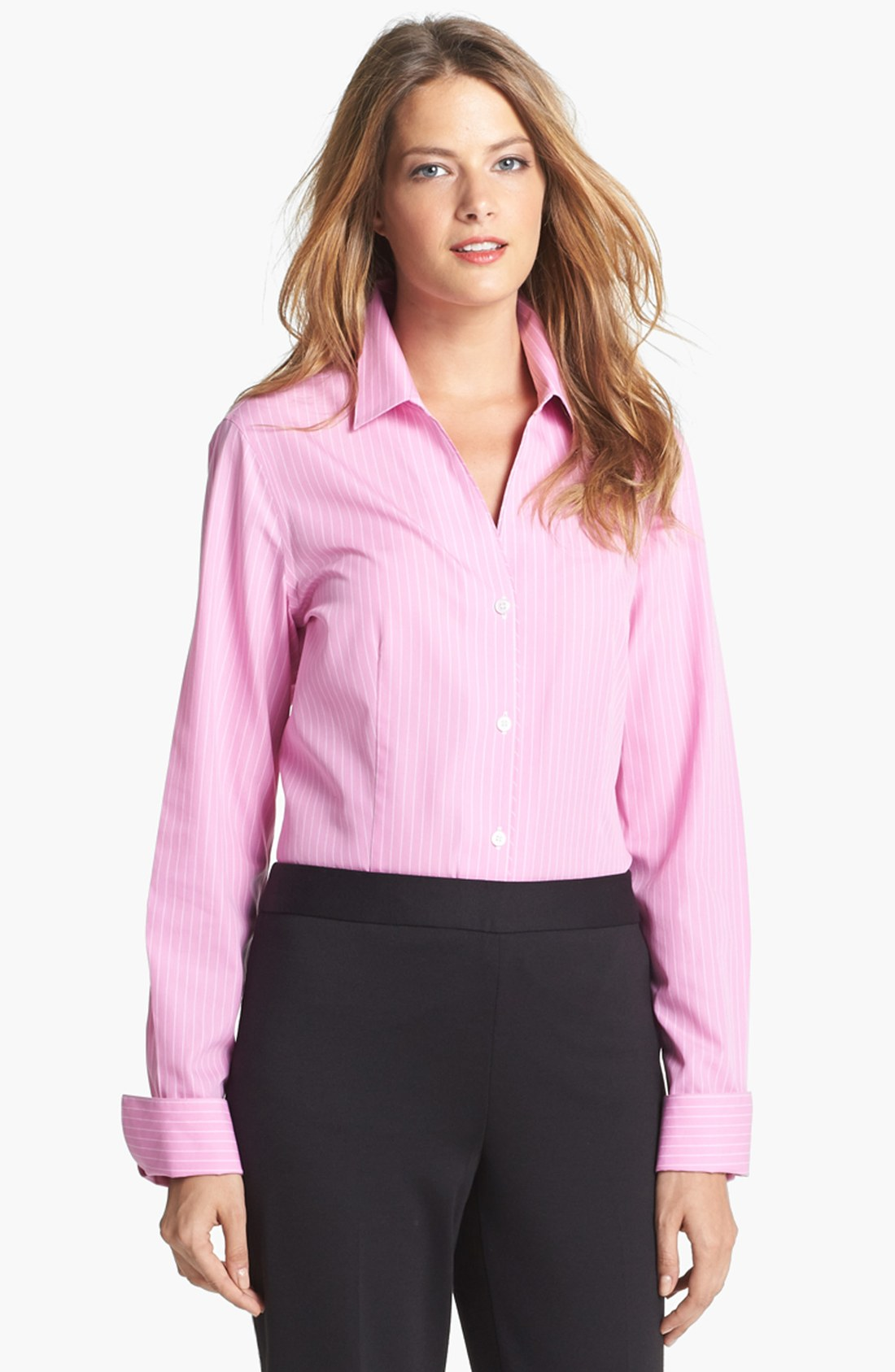 Jones new york easy care stripe shirt in pink new pink for New york and company dress shirts
