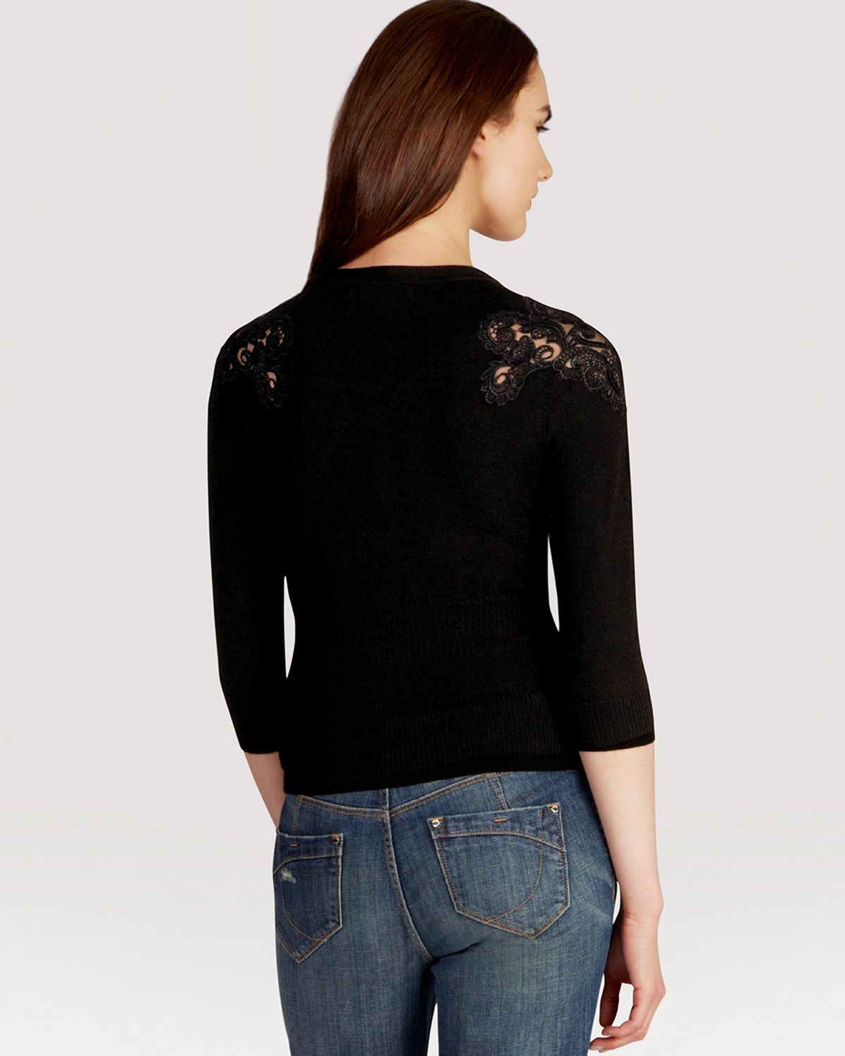 Karen millen Lace Panel Signature Cardigan in Black | Lyst