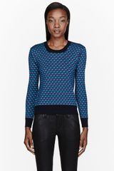 Marc By Marc Jacobs Green Knit Merino Patterned Luna Sweater - Lyst