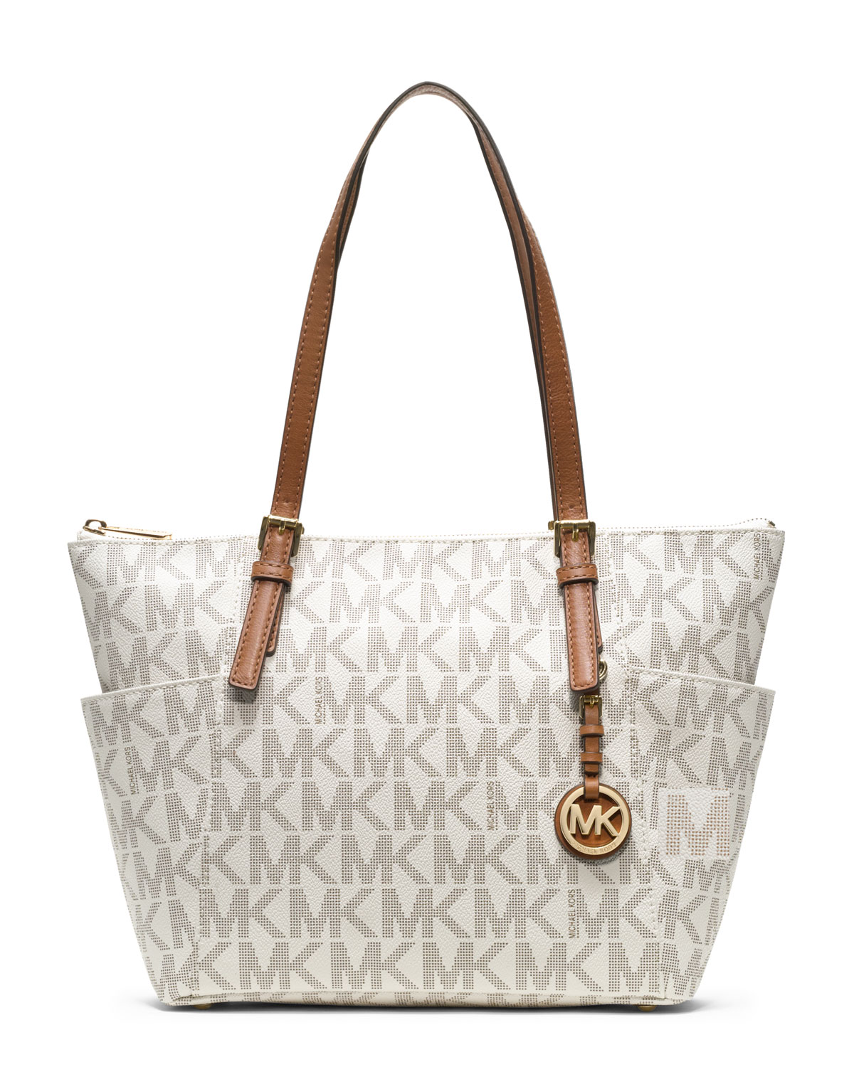 michael kors michael jet set logo top zip tote in white lyst. Black Bedroom Furniture Sets. Home Design Ideas