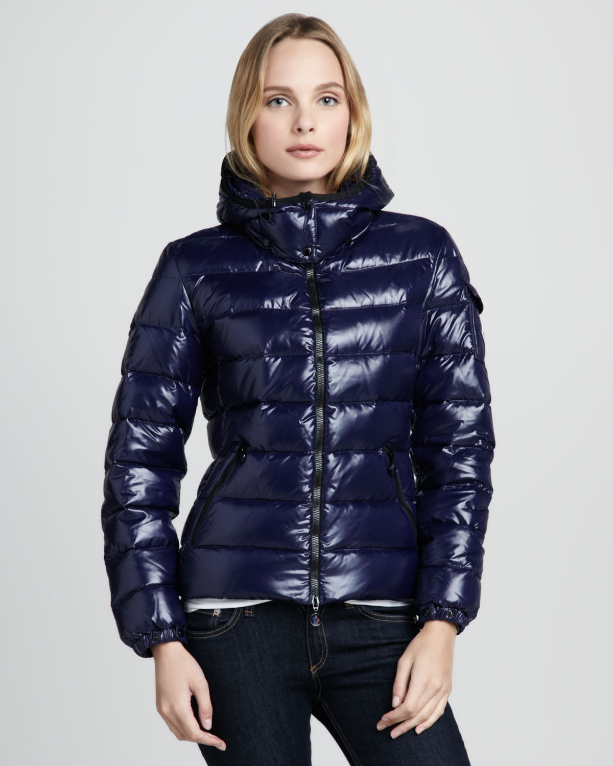 moncler bady short puffer jacket in blue lyst. Black Bedroom Furniture Sets. Home Design Ideas