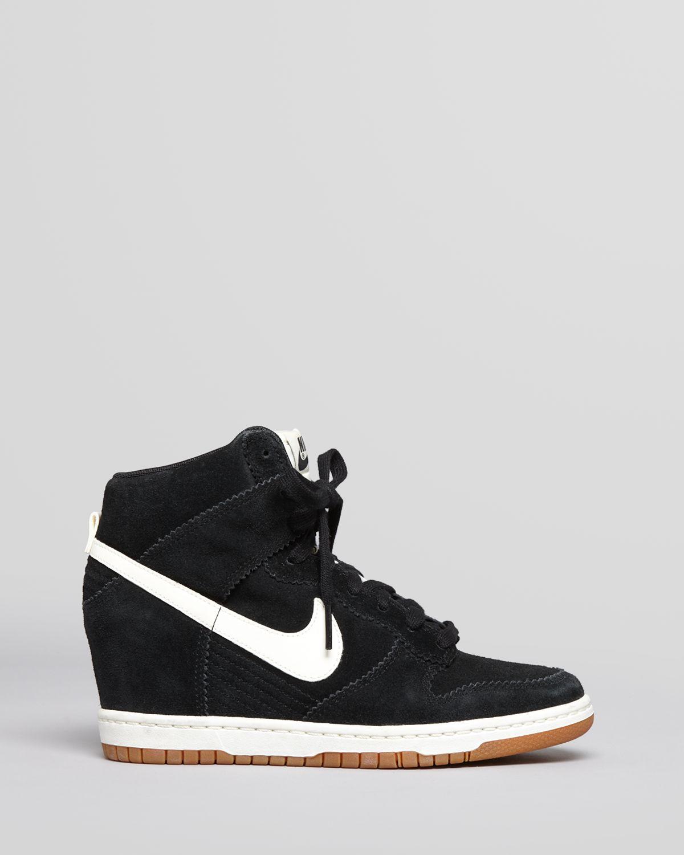 photos officielles d9056 5a27f sale nike dunk sky hi suede wedge sneakers black 2e41b 884af