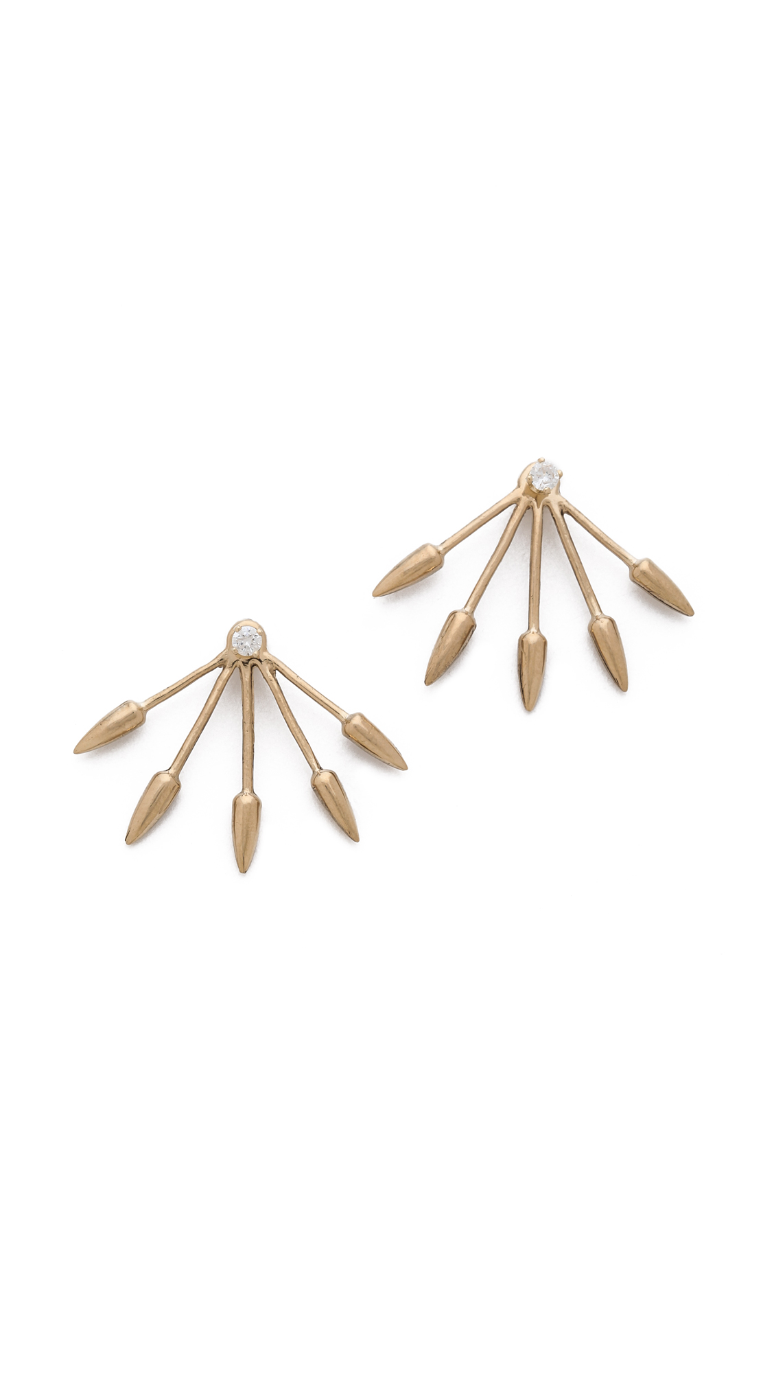 five spike stud earrings in gold gold