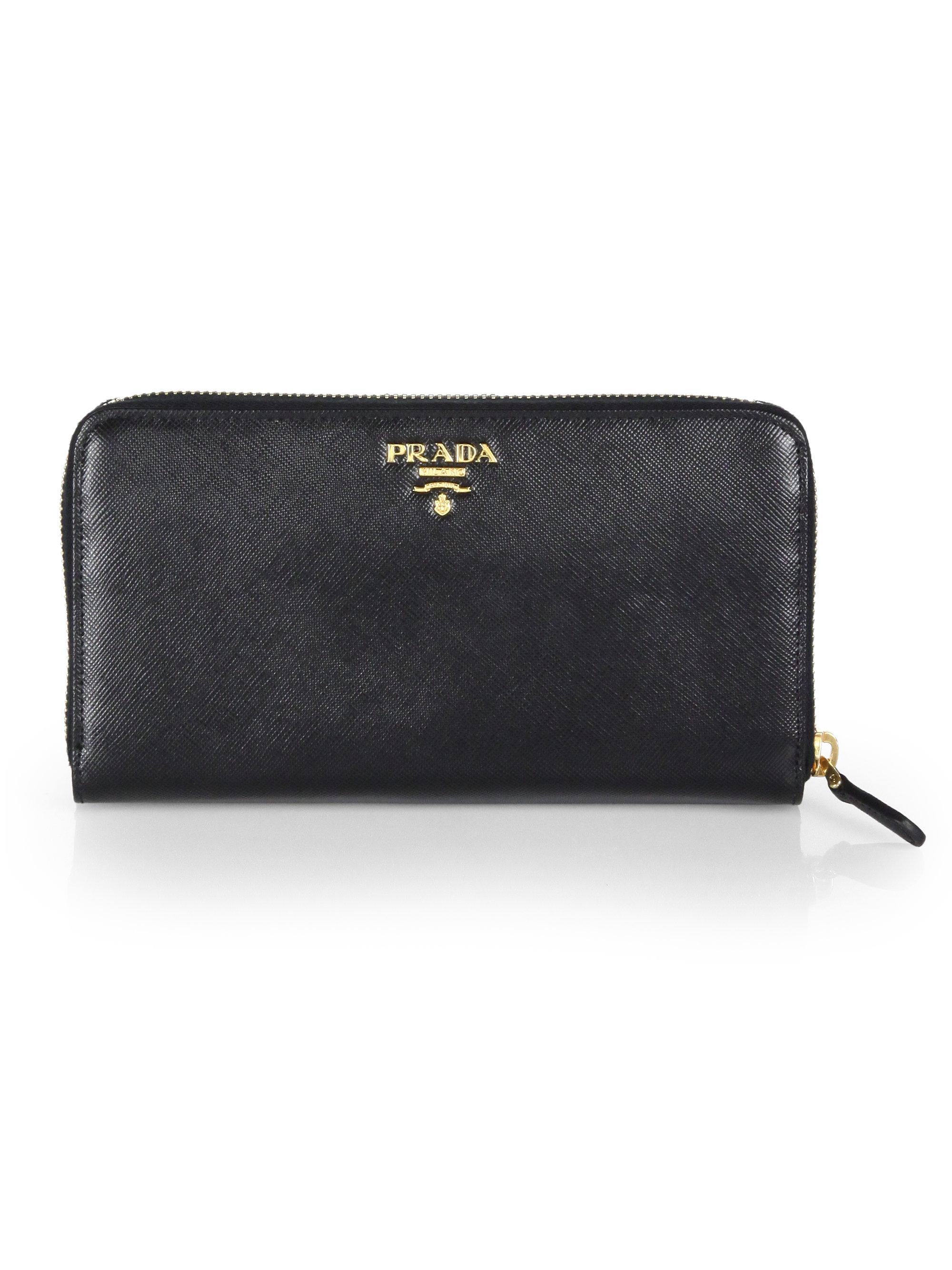 prada nylon tote bag - Prada Saffiano Continental Zip Wallet in Black | Lyst