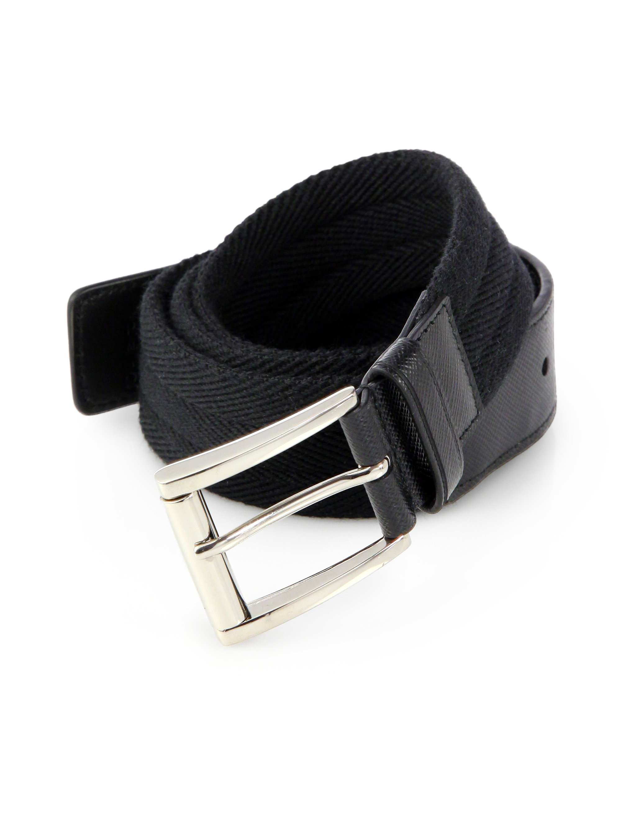 Prada Wool \u0026amp; Saffiano Belt in Black for Men | Lyst