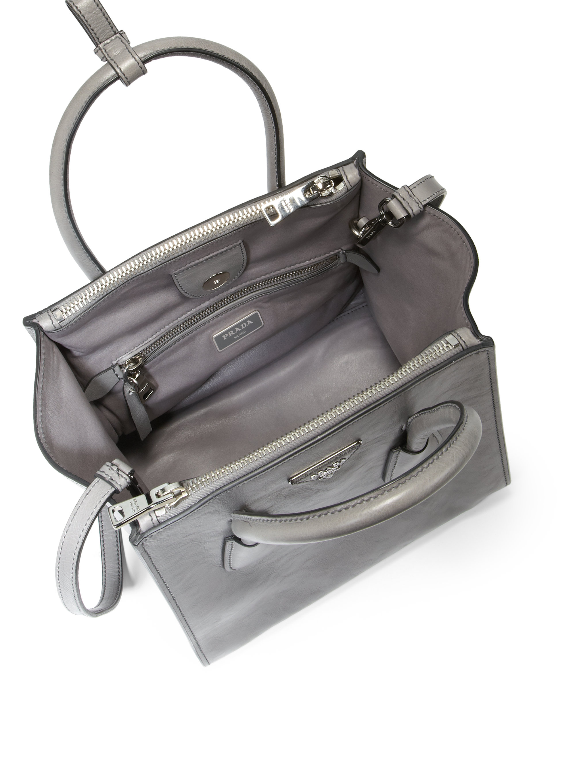 629c09c2b32c3 Lyst - Prada Glace Calf Small Twin Pocket Tote in Gray