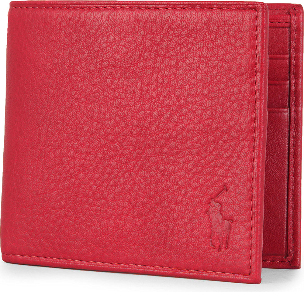 Ralph Lauren Pony Embossed Pebbled Leather Wallet In Red