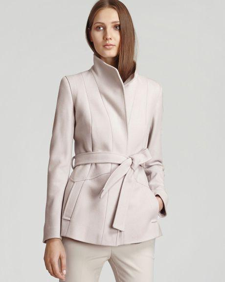 Reiss Coat Chianti Belted Pleat Back in Beige Blush Lyst