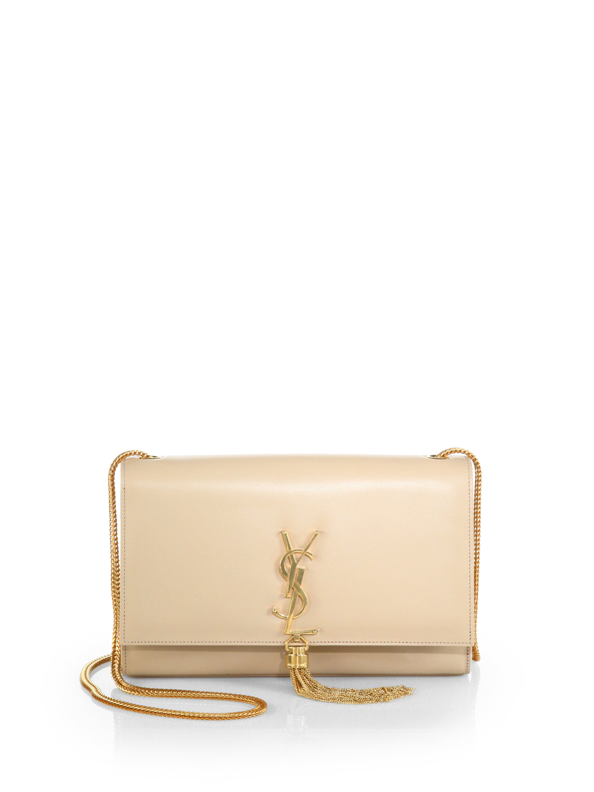 0a37eef69d Lyst - Saint Laurent Cassandre Tassel Shoulder Bag in Natural