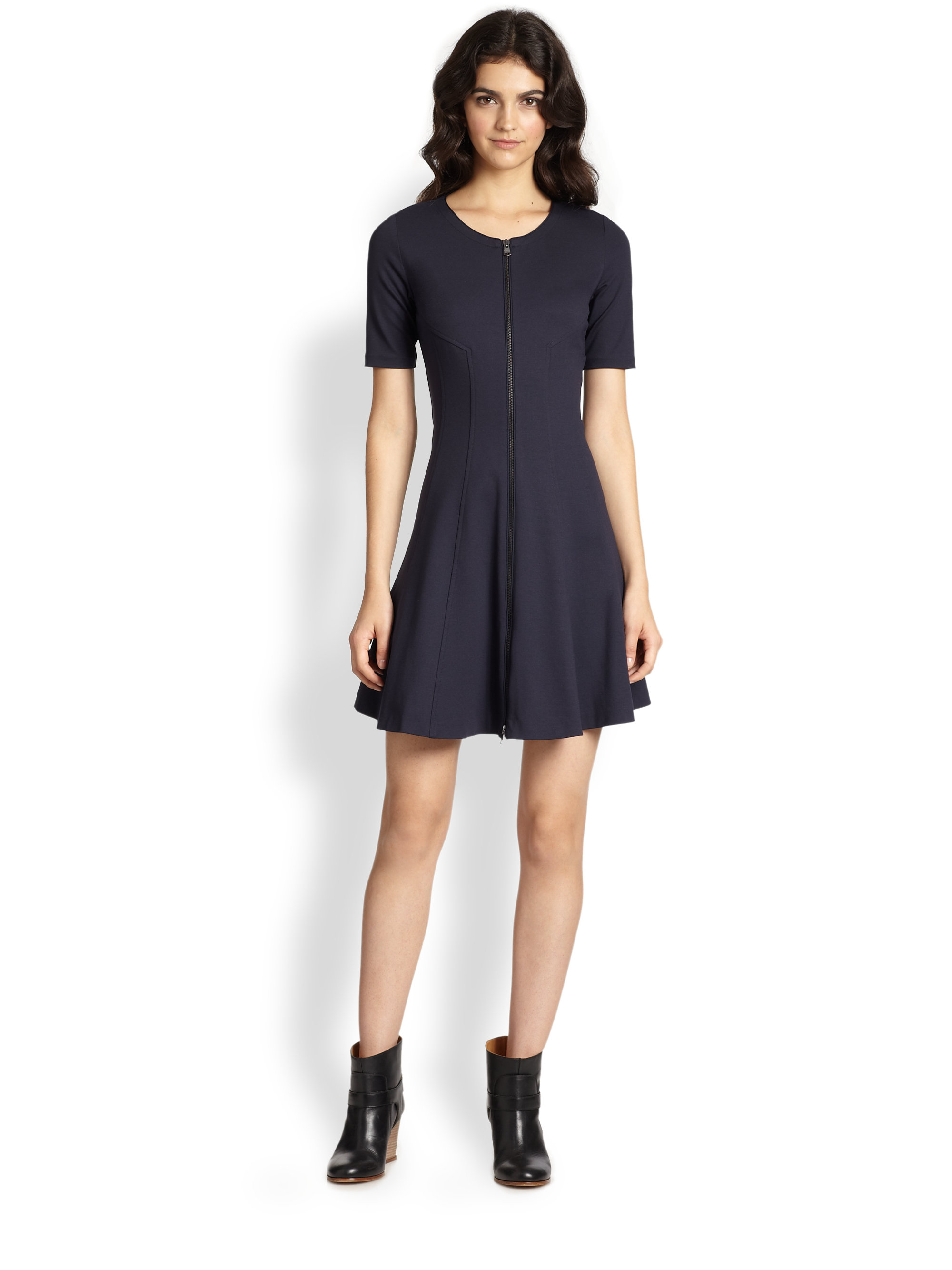 Lyst Theory Bonbi Zipfront Fitandflare Dress In Blue