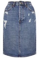 Topshop Moto Ripped Denim Pelmet Skirt - Lyst