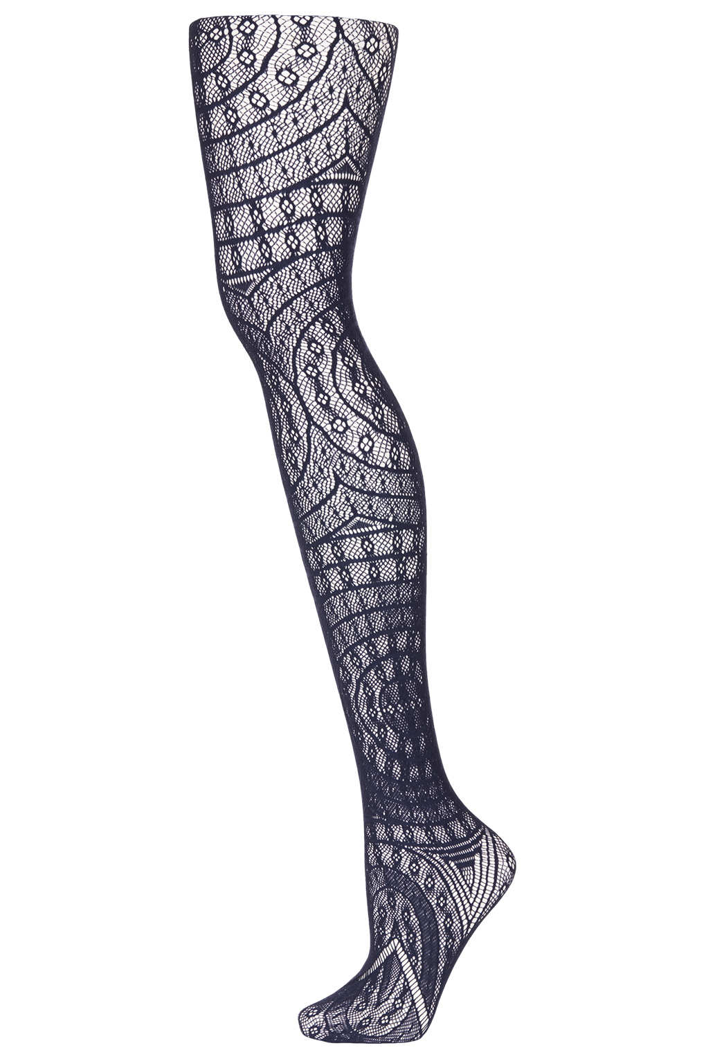 5904c2a6a20 TOPSHOP Navy Gothic Look Lace Tights in Blue - Lyst