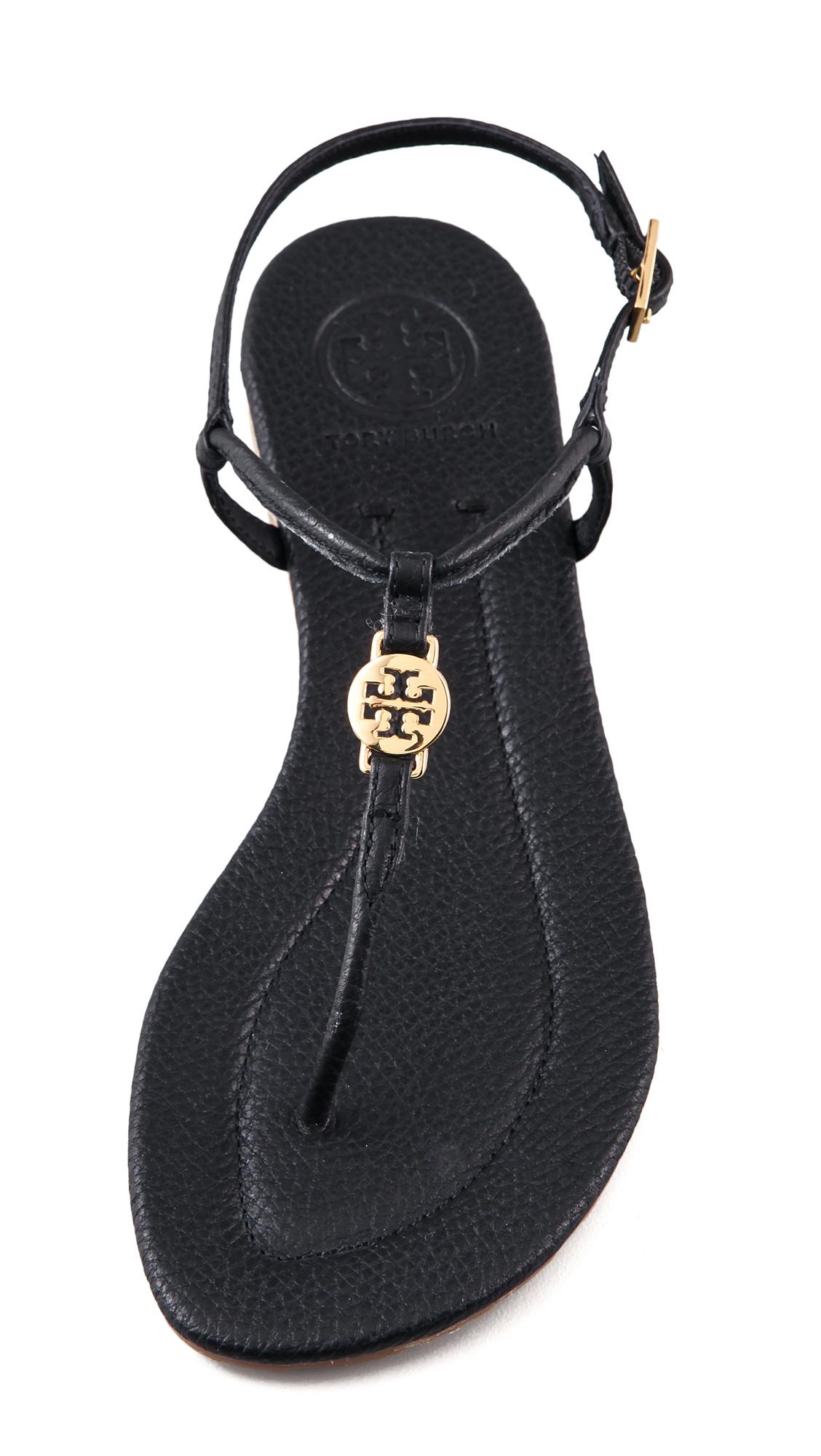 fe0a15365 Lyst - Tory Burch Emmy Flat Thong Sandals in Black