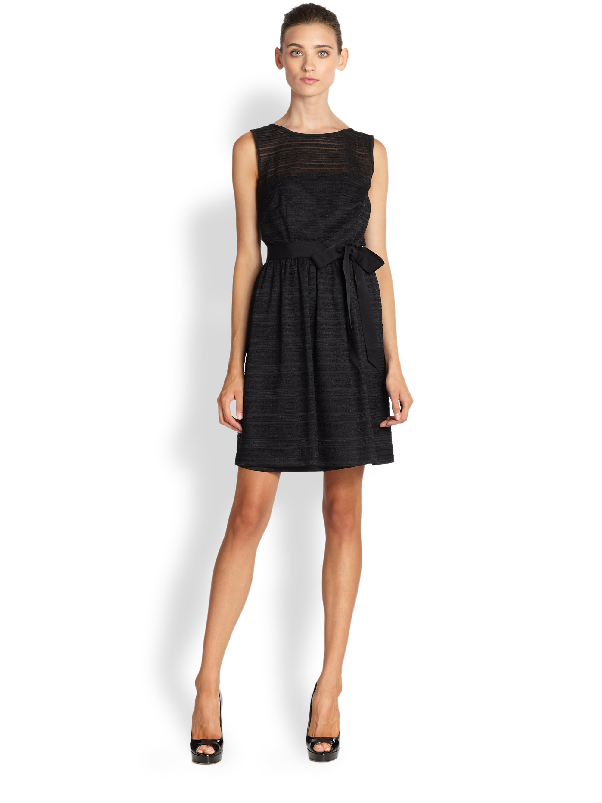 Trina Turk Sandie Striped Lace Fit Flare Dress In Black Lyst