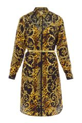 Versace Leopard Print Silk Dress - Lyst