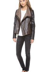 Vince Colorblock Leather Jacket - Lyst