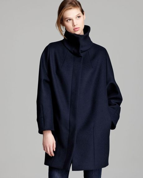 weekend by maxmara coat funnel collar in blue ultramarine. Black Bedroom Furniture Sets. Home Design Ideas