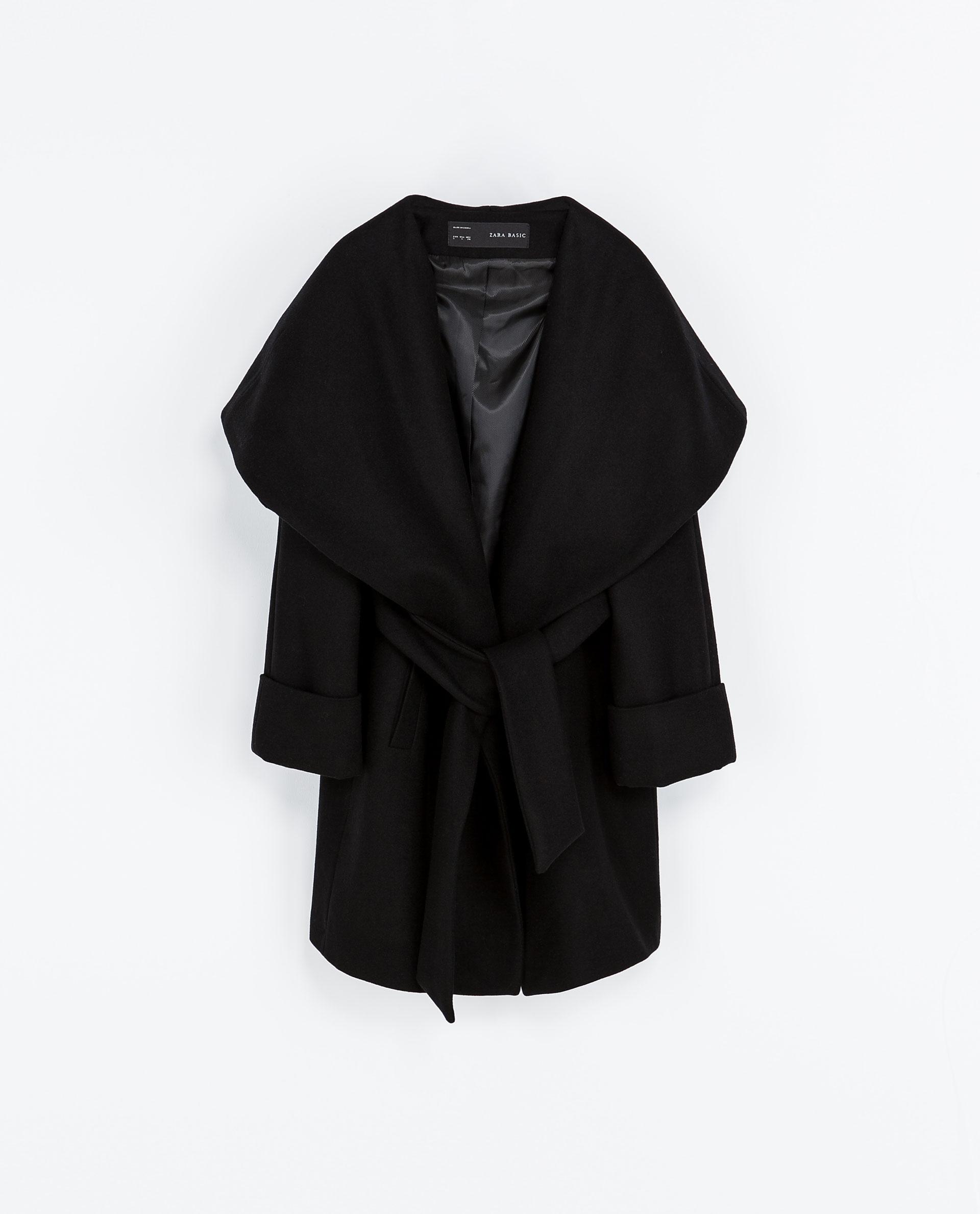 Zara Woollen Wrap Around Coat In Black Lyst