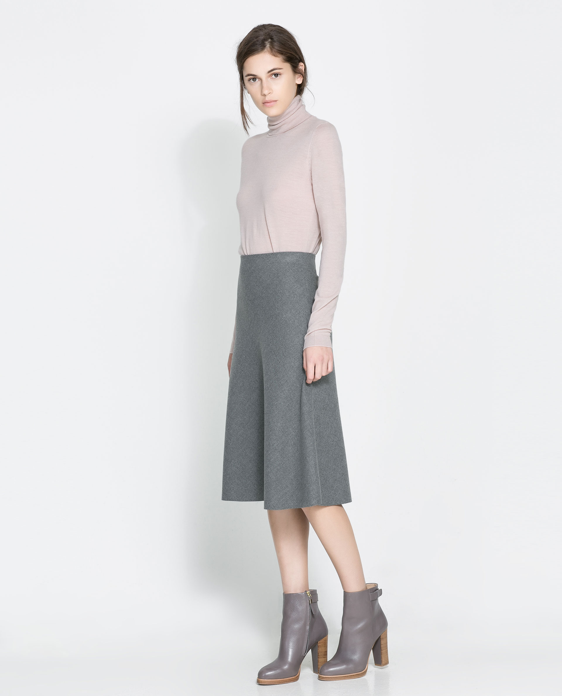 Zara High Waist Skirt in Gray | Lyst