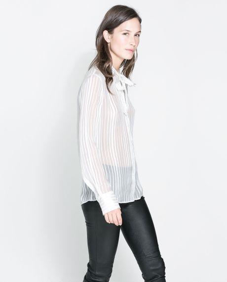 Zara Silk Blouse With Bow 7
