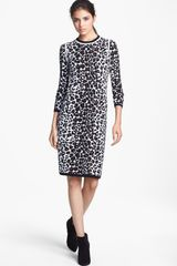 A.L.C. Smith Long Sleeve Leopard Pattern Knit Dress - Lyst