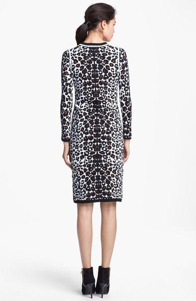 Long Sleeve Knit Dress Pattern : A.l.c. Smith Long Sleeve Leopard Pattern Knit Dress in Animal (White Leopard)...