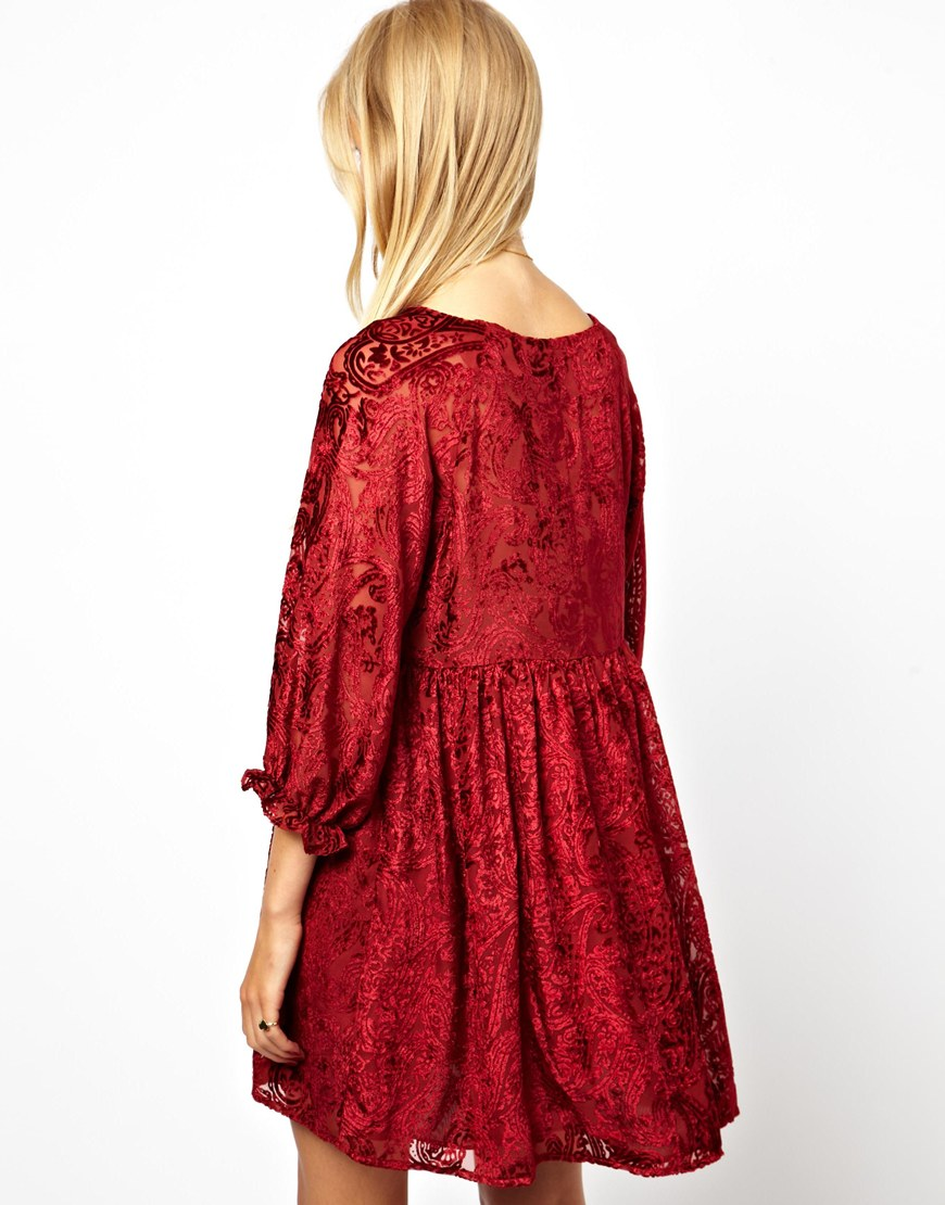 Lyst Asos Smock Dress With Velvet Burnout In Red