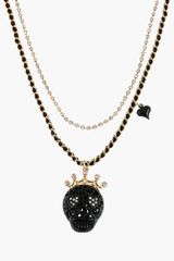 Betsey Johnson Black Lace Skulls Multistrand Necklace - Lyst