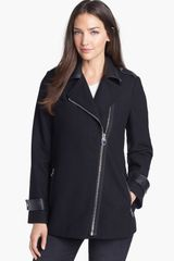 Calvin Klein Faux Leather Trim Asymmetrical Jacket - Lyst