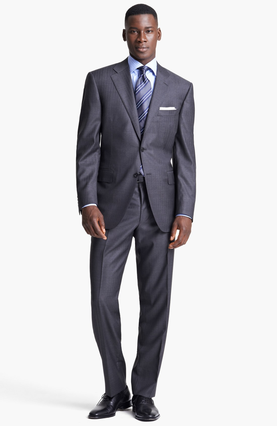 Canali classic fit stripe suit in brown for men lyst for Nordstrom men s dress shirt fit guide