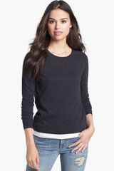 Caslon® Crewneck Highlow Sweater - Lyst