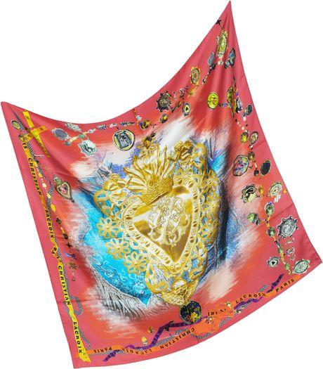 christian lacroix bijoux print silk square scarf in lyst