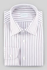 Ermenegildo Zegna Striped Dress Shirt Burgundywhite - Lyst
