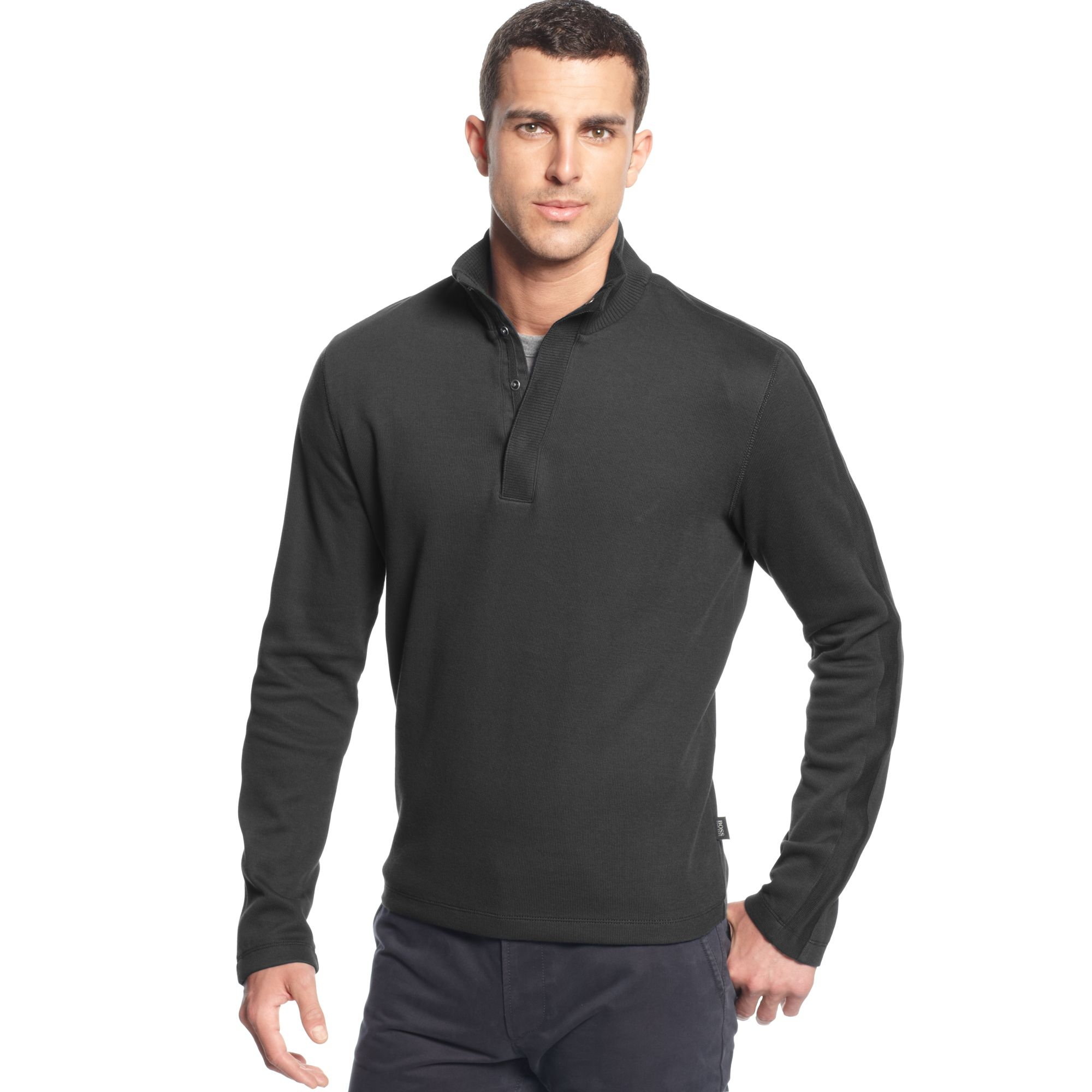 hugo boss boss sweater core piceno snap button sweater in gray for men. Black Bedroom Furniture Sets. Home Design Ideas