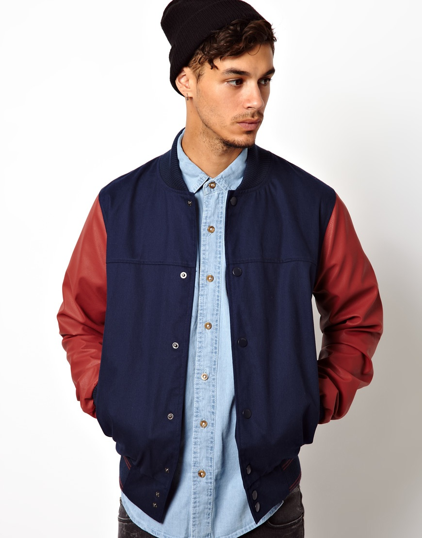 Mens Baseball Jacket Leather Sleeves