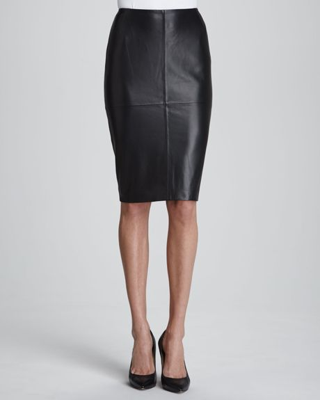 lafayette 148 new york slim leather pencil skirt in
