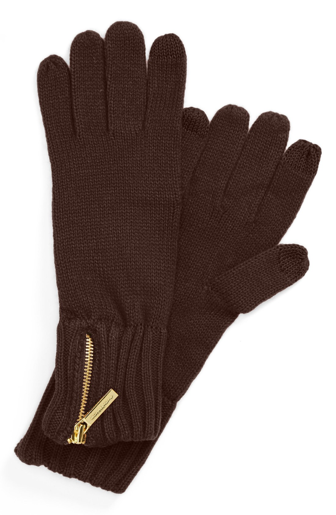 michael michael kors touch screen zip gloves in brown. Black Bedroom Furniture Sets. Home Design Ideas