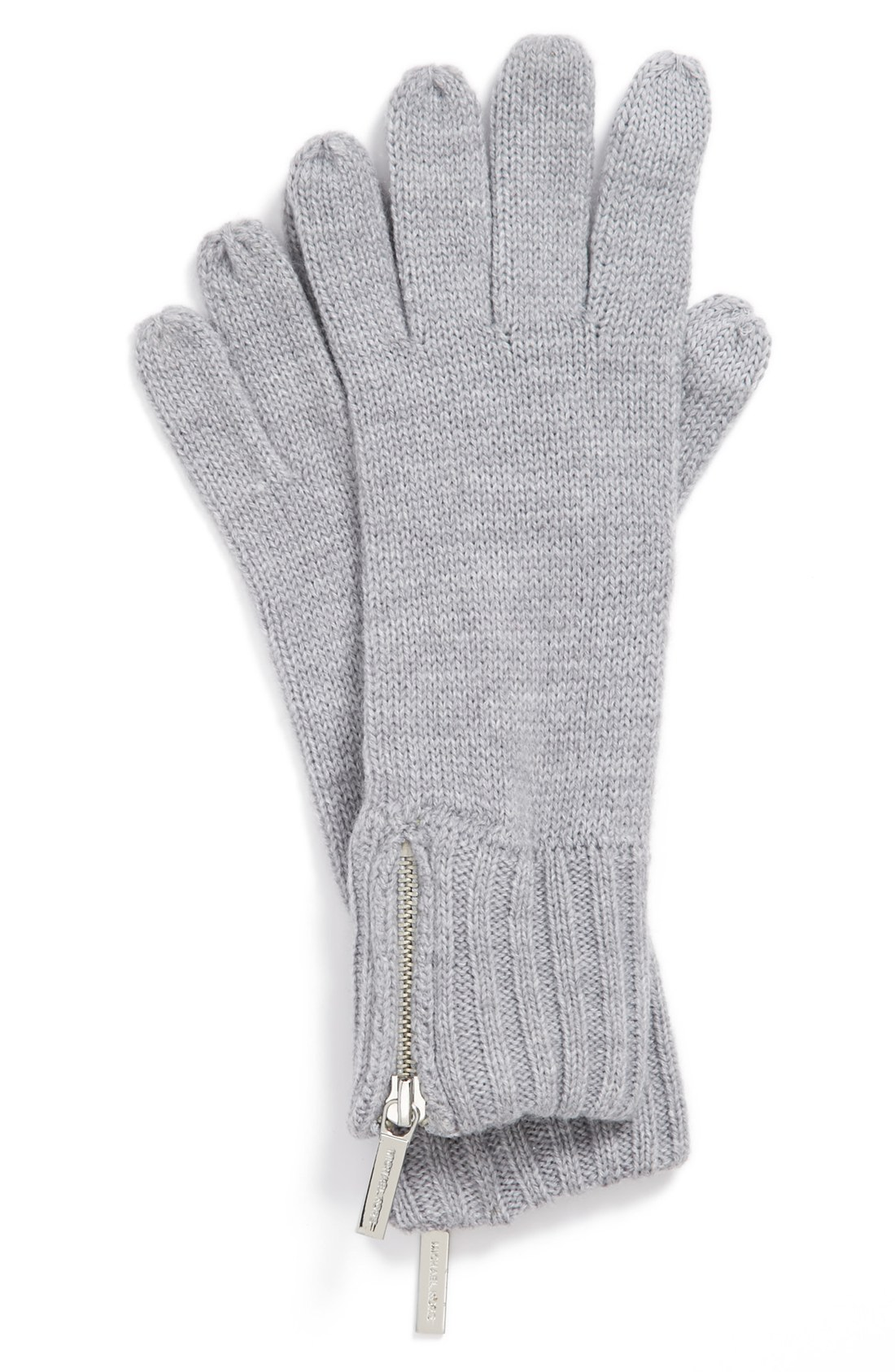 michael michael kors touch screen zip gloves in gray. Black Bedroom Furniture Sets. Home Design Ideas