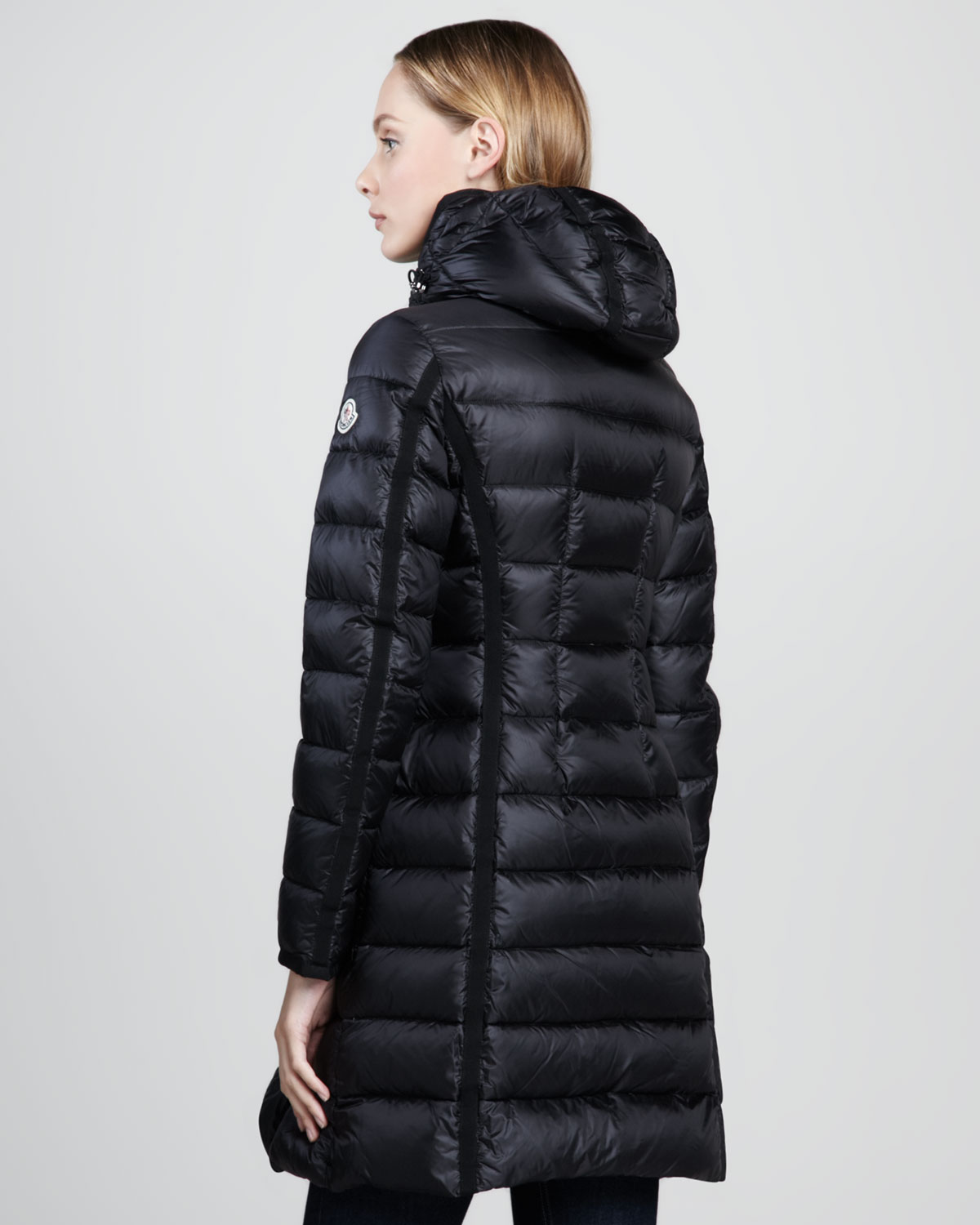 moncler hermine dartedwaist puffer coat black in black lyst. Black Bedroom Furniture Sets. Home Design Ideas