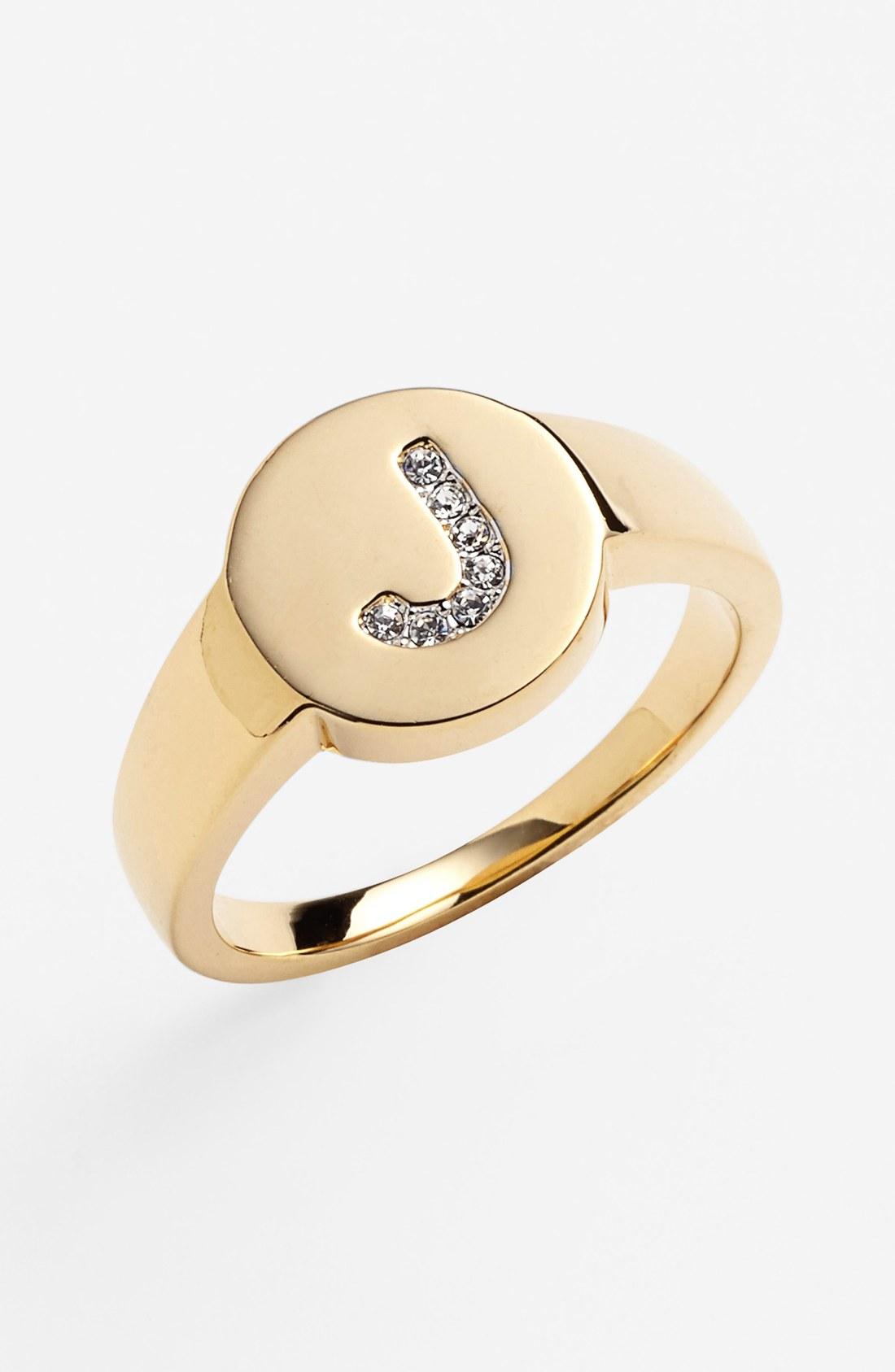 nadri pav 233 initial ring in gold j gold clear lyst