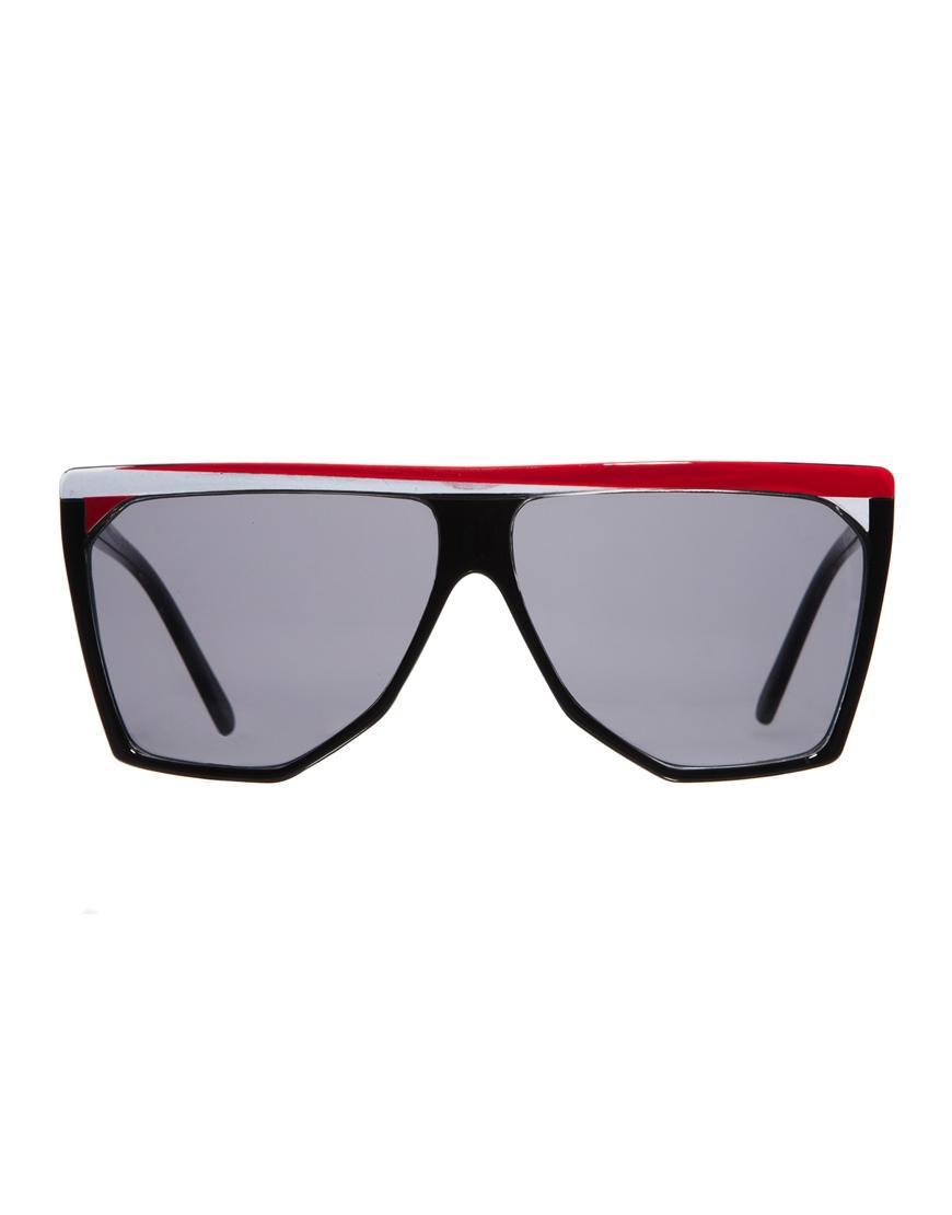 b48e5617e07ae Lyst - Quay Black Angular Sunglasses with Red and White Brim in Red