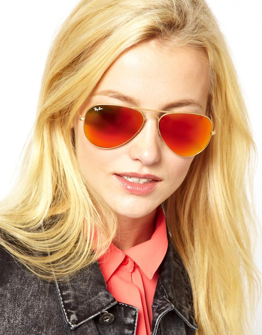Ray Ban Mirror Aviator Sunglasses  asos rayban orange mirror aviator sunglasses in metallic lyst