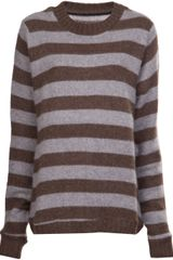 The Elder Statesman Crew Neck Striped Sweater - Lyst