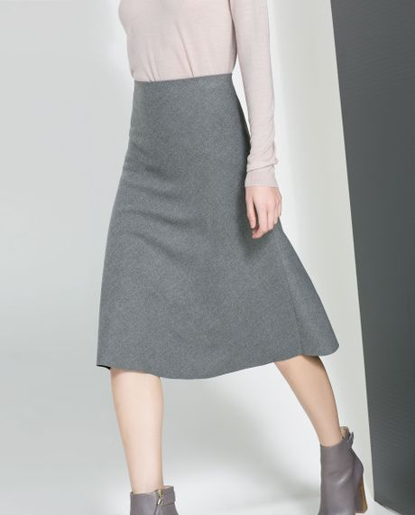 zara high waist skirt in gray grey lyst