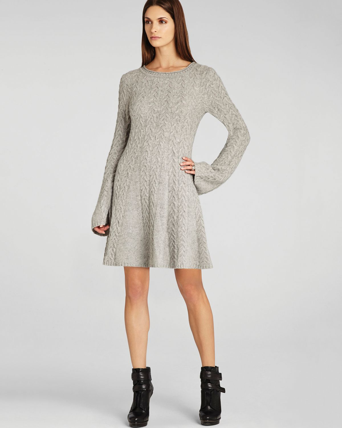 Lyst Bcbgmaxazria Sweater Dress Hoshi Cabled In Gray