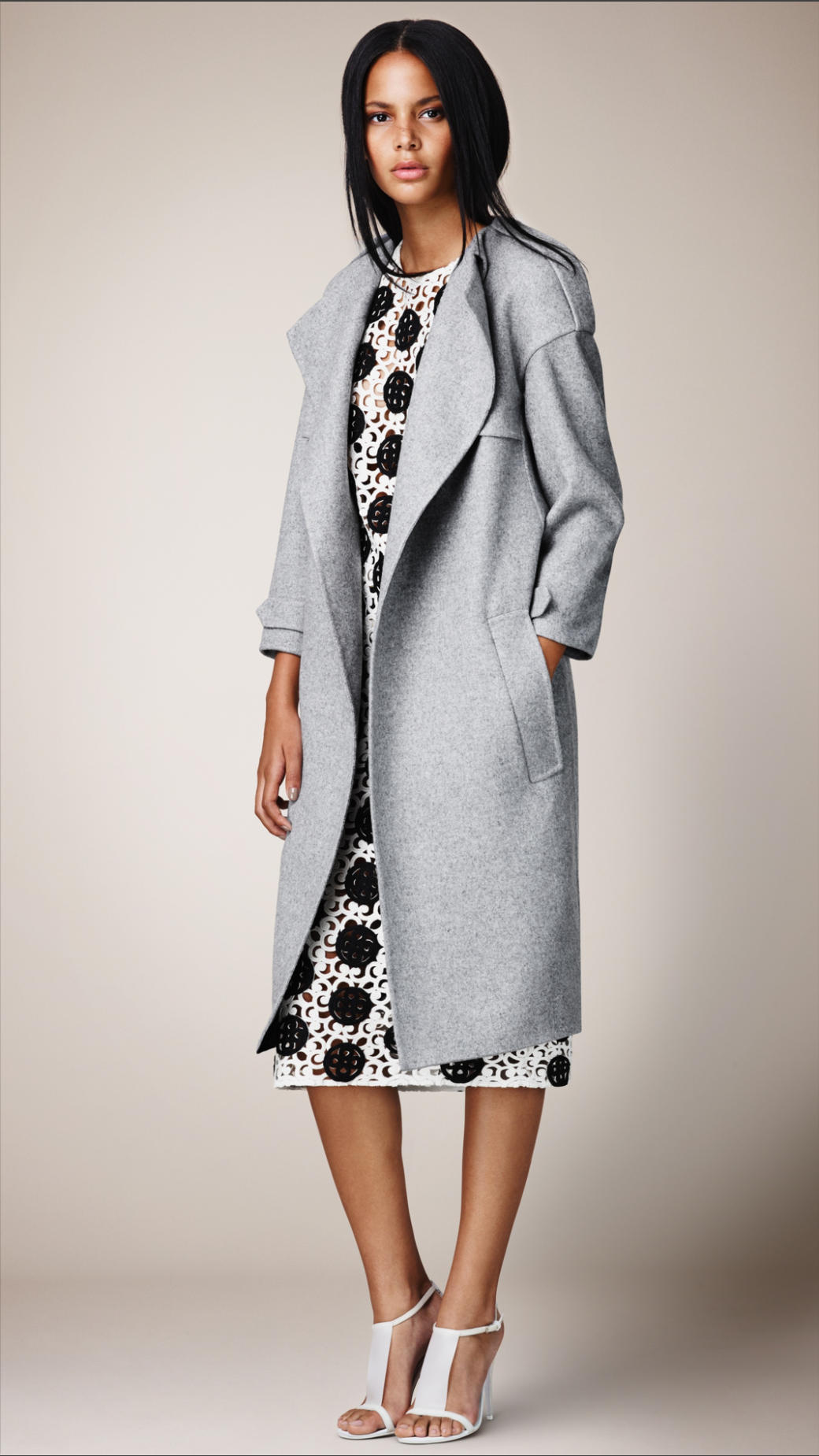 Burberry Double Cashmere Trench Coat in Gray | Lyst