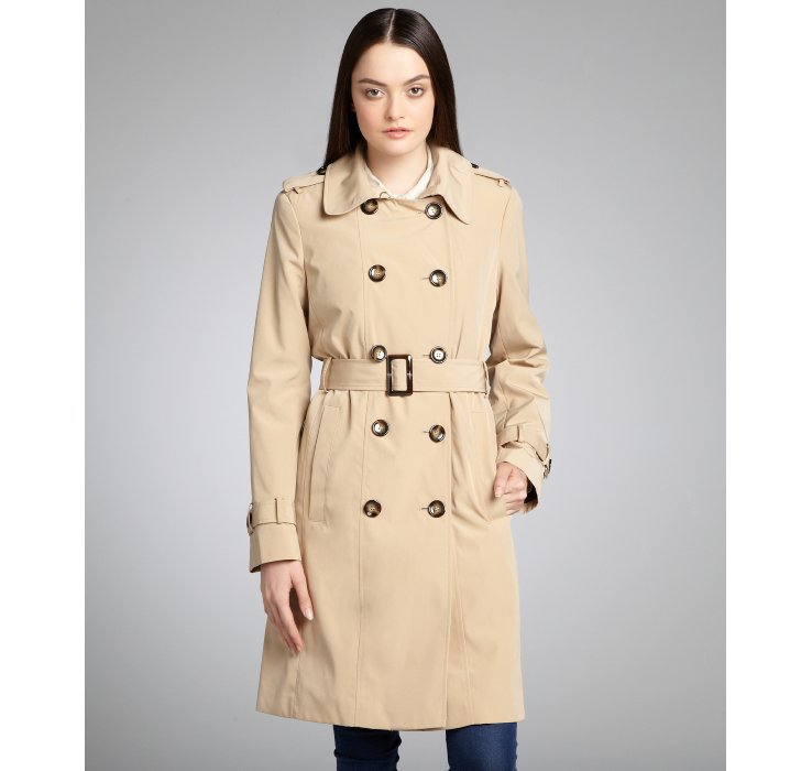 Calvin klein Khaki Double-breasted Fleece Lined Belted Trench coat ...
